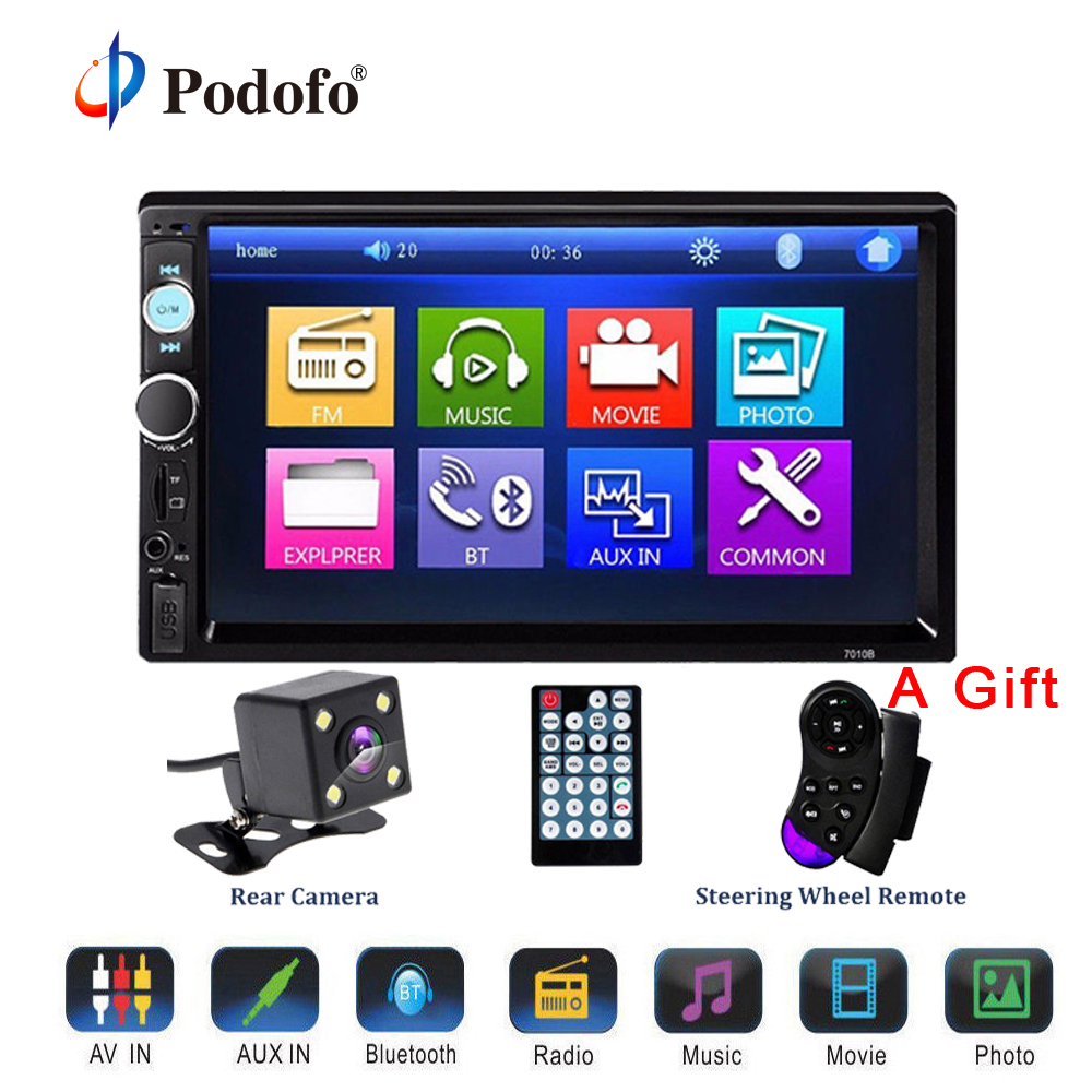 Podofo 2 Din Car Stereo Audio Radio MP3 Multimedia Player Bluetooth 7 HD Touch Screen USB FM Autoradio Support Rear View Camera niorfnio portable 0 6w fm transmitter mp3 broadcast radio transmitter for car meeting tour guide y4409b