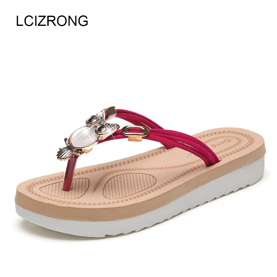 LCIZRONG Summer Women Beach Sandals Woman Fashion Rhinestone Flip Flops High Platform Sandals Mujer Animal Shoes Casual Sandals