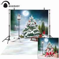 Allenjoy fotografía fondo de invierno nieve árbol de Navidad de dibujos animados trineo Luna Llena Estudio de foto Cámara fotografica