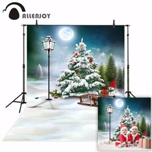 Allenjoy photophone photography background Snow winter Christmas tree cartoon sled full moon backrop photo studio photocall
