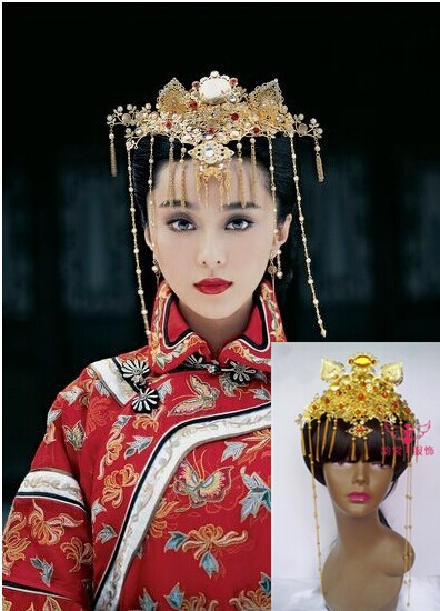 TV Play Yanzhixue Costume Bride Wedding Hair Jewelry Hair Piece hair tiara 00009 red gold bride wedding hair tiaras ancient chinese empress hair piece