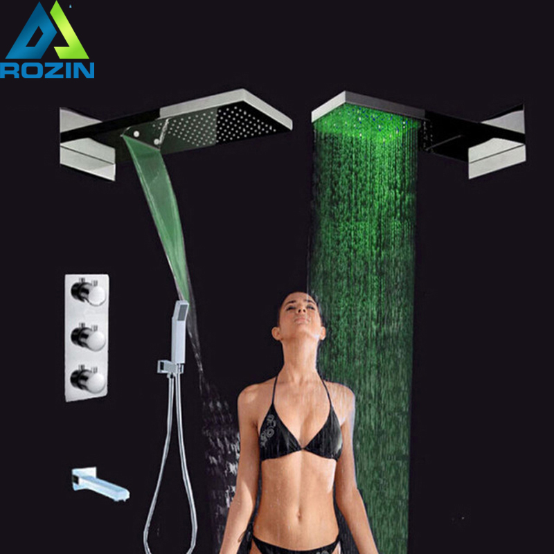 LED Light Bathroom Shower Set Large Rain Waterfall Shower Head Chrome Thermostatic Mixer Valve Shower Mixers with Handshower