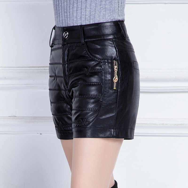 7aac86ba9678 ... Winter Leather Shorts Women Plus Size High Waist Slim Outwear Boots PU  Leather Cotton Shorts Femme