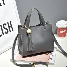 2017 neue Frauen Messenger Bags Pu Leder frauen Handtaschen Eimer Tasche Vintage Designer Umhängetasche Damen Quaste Taschen