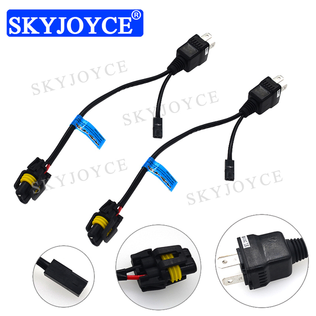 skyjoyce h4 h/l easy relay harness wire for 12v 35w 55w 9003 h4 hi/lo  bi-xenon hid bulb wiring controller 1 for 1 h4 socket