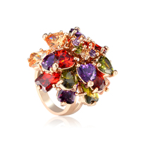 Gift Classic luxury Gold Color Multi shaped and Multicolor CZ Dangled Cocktail 100% Handmade Big Rings women rings