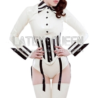 Women 's sexy latex sets blouse +corset+stockings + gloves +briefs