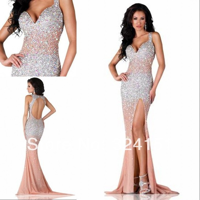 Free Shipping 2014 New Arrival Exotic Enhance Mermaid Long Sheer Nude Tulle  Heavy Beaded Sexy Evening Gown Prom Party Dress 940303c8777b