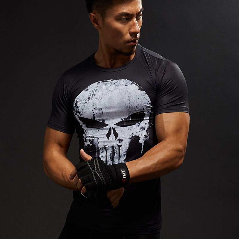Punisher Gym Sport T Shirt Men Short Sleeve T-Shirt Male Crossfit Tee Captain America Superman Compression Shirt MMA Skull Tops skull print slashed tee