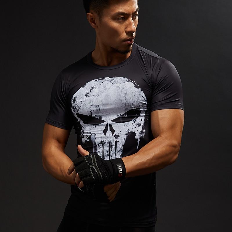 Punisher Gym Sport T Shirt Men Short Sleeve T-Shirt Male Tee Captain America Superman Compression Shirt MMA Skull Tops