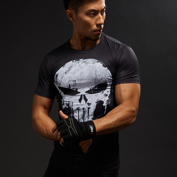 Punisher Gym Sport T Shirt Men Short Sleeve T-Shirt Male Tee Captain America Superman Compression Shirt MMA Skull Tops
