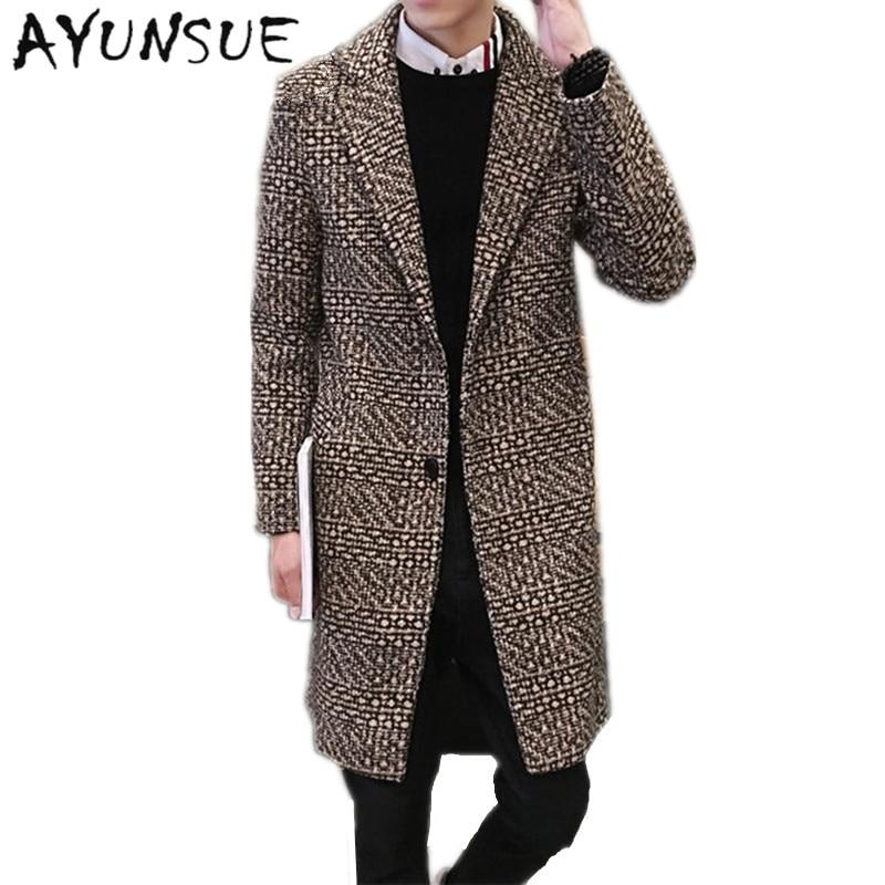 Mode Medium Lange Kaschmir mantel Männer Marke Kleidung