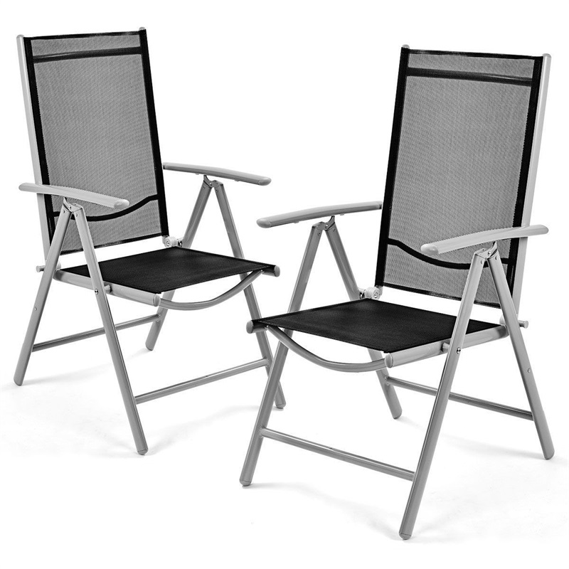 Set Of 2 Patio Folding Chairs Textilene Fabric Non-slip Mat Light Weight Easy Move Outdoor Chaise Lounge HW52027