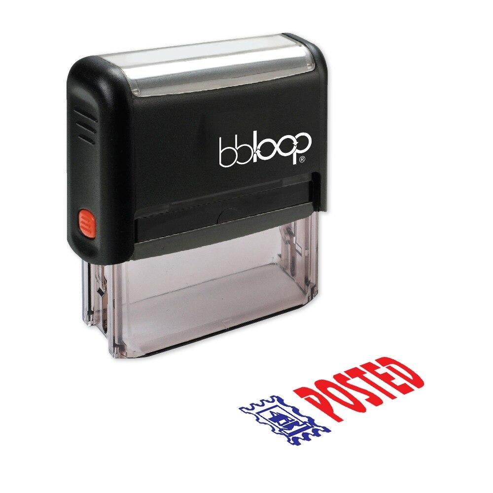 BBloop POSTED W/Stamp Illustration Self-Inking Stamp, Rectangular, Laser Engraved, RED 10 digit 9 wheels gray light blue rubber band self inking numbering stamp