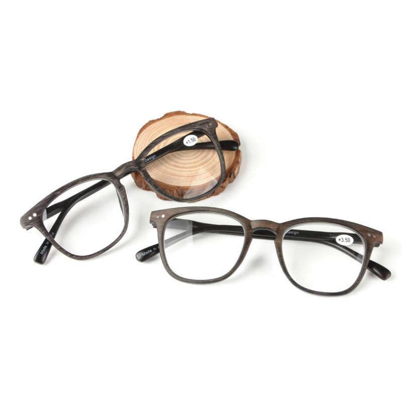 0a41e1e0f3 ... Plastic Big Full Frame Resin Presbyopia Eyewear Imitation Wood Stripes Reading  Glasses Diopter 1.0 2.0 3.0 ...