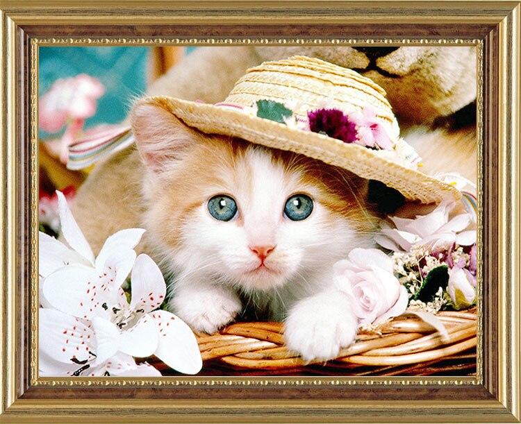 ᗚLindo gato animal flores DIY mosaicos pegados full Cuadros de ...