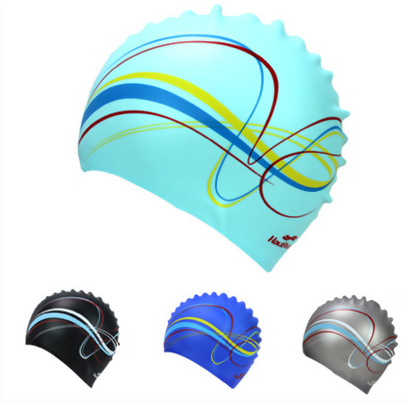 C225 Athletes dedicated new silicone swimming cap men and women general long hair waterproof printing adult swimming cap