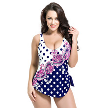Latest Vintage Pad Swimwear Women Retro Plus Size One Piece Swimsuit Dress 4XL Floral Dot Backless