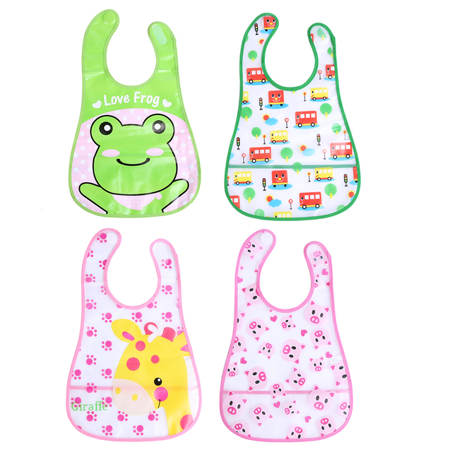 Baby Kids Bibs EVA Waterproof Newborn Saliva Towel Animals Cartoon Lunch Bibs Burp Cloth Infant Kids Feeding Bandana Baberos