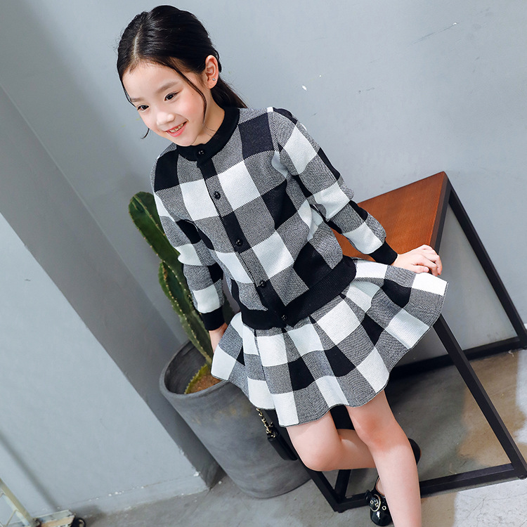 2018 Spring New children's clothing Kids Suits Girls Plaid Jacket + Skirt Two Sets Children's Set Kids Sets fashion slim girls clothing sets long sleeve plaid sweater two piece skirt suits cotton kids wear vetement fille split hem