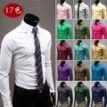 Мужчины сплошной цвет длинная рукавами рубашка дикий вечернее платье рубашка хлопок длинная рукавами рубашка 17 цвет M-XXXL