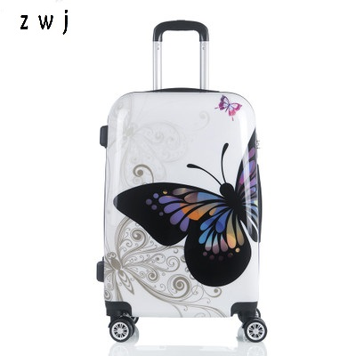 "Butterfly ABS trolley suitcase luggage 20""24"" design boarding trolley bags Trolley Case Luggage Rolling Suitcase"