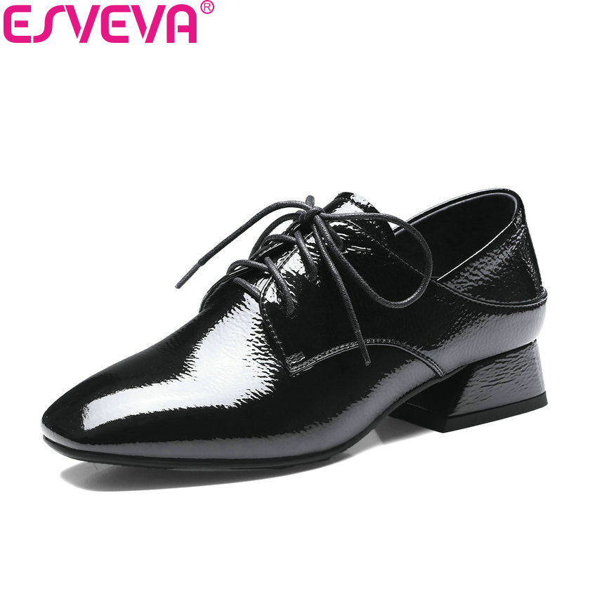 ESVEVA 2018 Women Pumps Med Heels Shoes Cow Leather PU Square Heels Lace Up Square Toe Western Style Ladies Shoes Size 34-42 esveva 2018 pointed toe western style women pumps cow leather pu square high heels lace up out door ladies shoes size 34 43