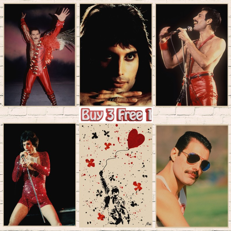 Queen Band Music Kraft Paper Poster Freddie Mercury Singer Art Poster Home Wall Decor Wall Stickers Room Decoration A2