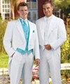 2016-Branco Fraque Do Noivo Smoking Casamento Groomsman Suits (Jacket + Pants + Tie + colete) EFF: 43
