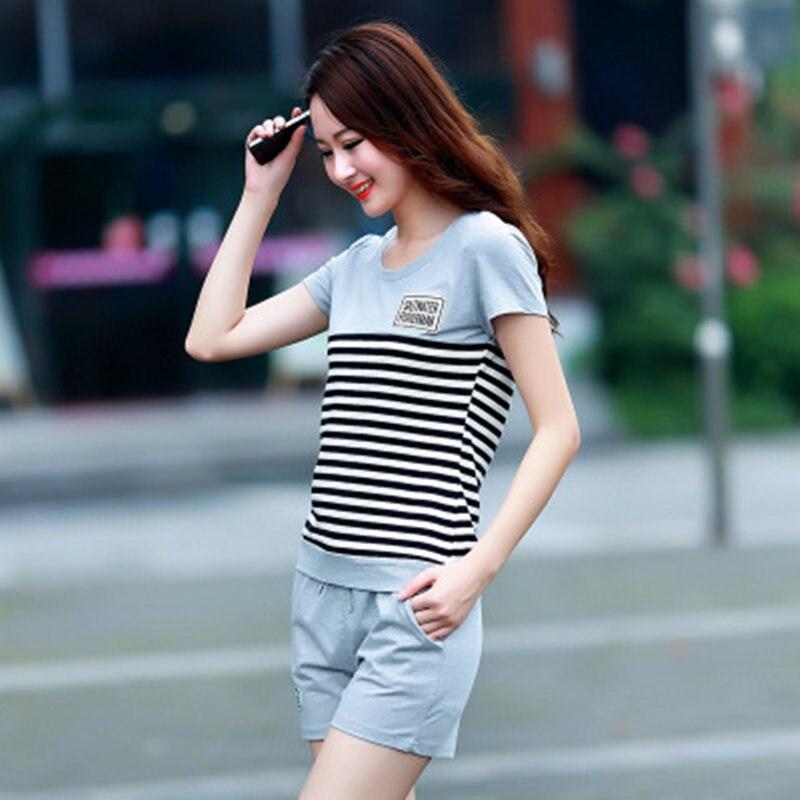 Casual Tracksuits Women Two Piece Set Sweat Suits Women Striped T Shirt...