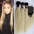 Темно корень ломбер 1b 613 блондинка девственные волосы с закрытием бразильские человеческие волосы ткать пучки с кружевными закрытия 4 шт. много