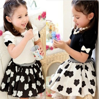 14 Clothing Sets summer baby small female child 100% cotton bow short-sleeve T-shirt chiffon short skirt set  free shipping