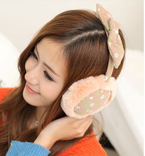 Lady  Loveliness Bowknot Ear Warmers Male Female Earmuffs Fur Earmuffs Earlap Ear Cover Ear Muffs Orejeras Winter Freeshipping