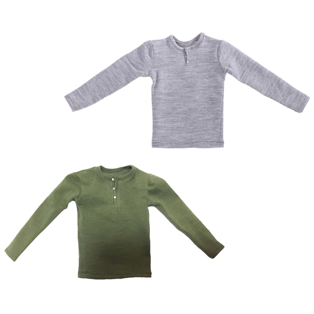 1/6 Scale Male Figure Long Sleeve T-shirts for 12 Inch Action Body   Male Outfit Clothes Set
