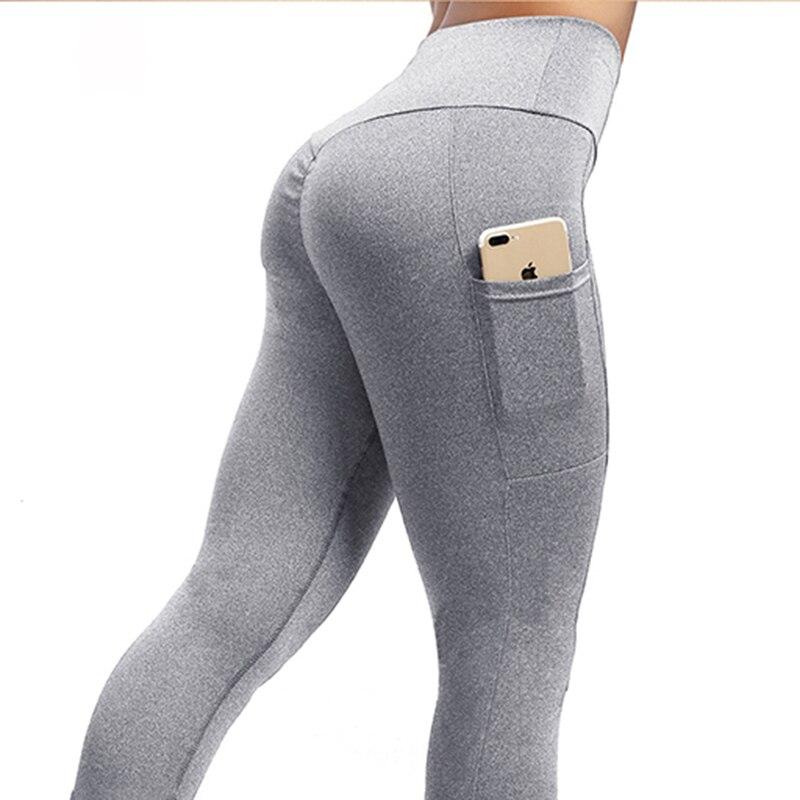 NORMOV Frauen Leggings Plus Größe Feste Beiläufige Farbe Hohe Taille Tasche Leggins Push-Up Elastische Workout Push-Up Fitness Legings