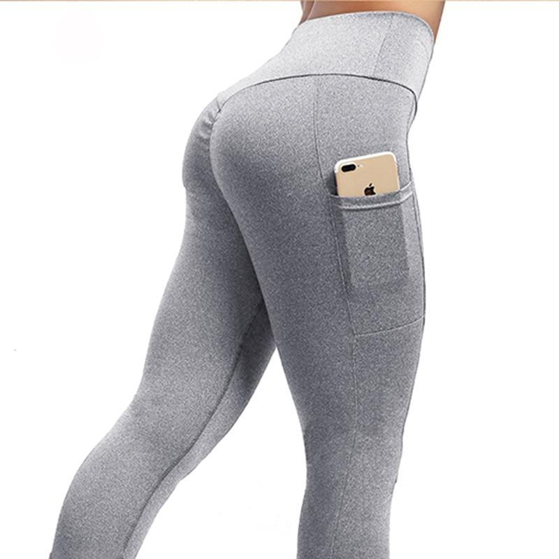 NORMOV Women   Leggings   Plus Size Solid Casual Color High Waist Pocket Leggins Push Up Elastic Workout Push Up Fitness Legings