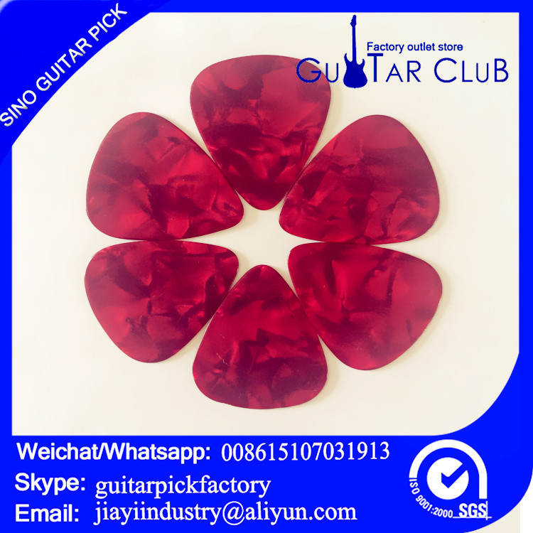 Free shipping to SHENZHEN CITY pink pearl color celluloid guitar picks 0.71mm thickness opp bag