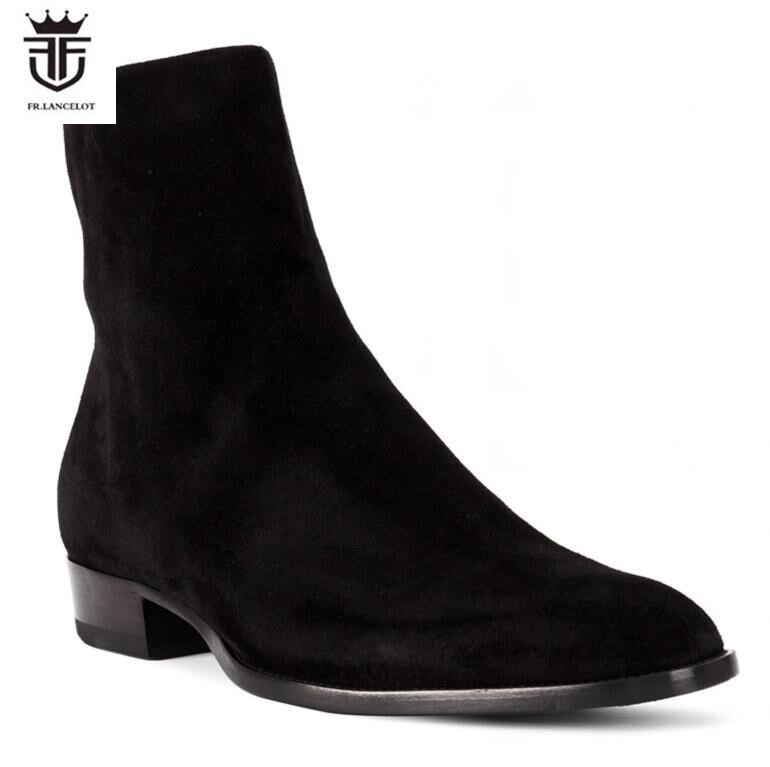 Gamuza De Zapatos Hombres Fr Lancelot Fiesta Negro Vintage Ante Botas Nuevos Los Moda Chelsea Cremallera 2019 Cuero Tobillo qtpw81cwX
