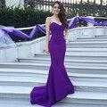 Púrpura Vestidos de Noche de La Sirena Larga 2017 Robe De Soirée Off Amor Del Hombro Elegante Vestido de Noche de Partido Atractivo de Los Vestidos Sin Espalda