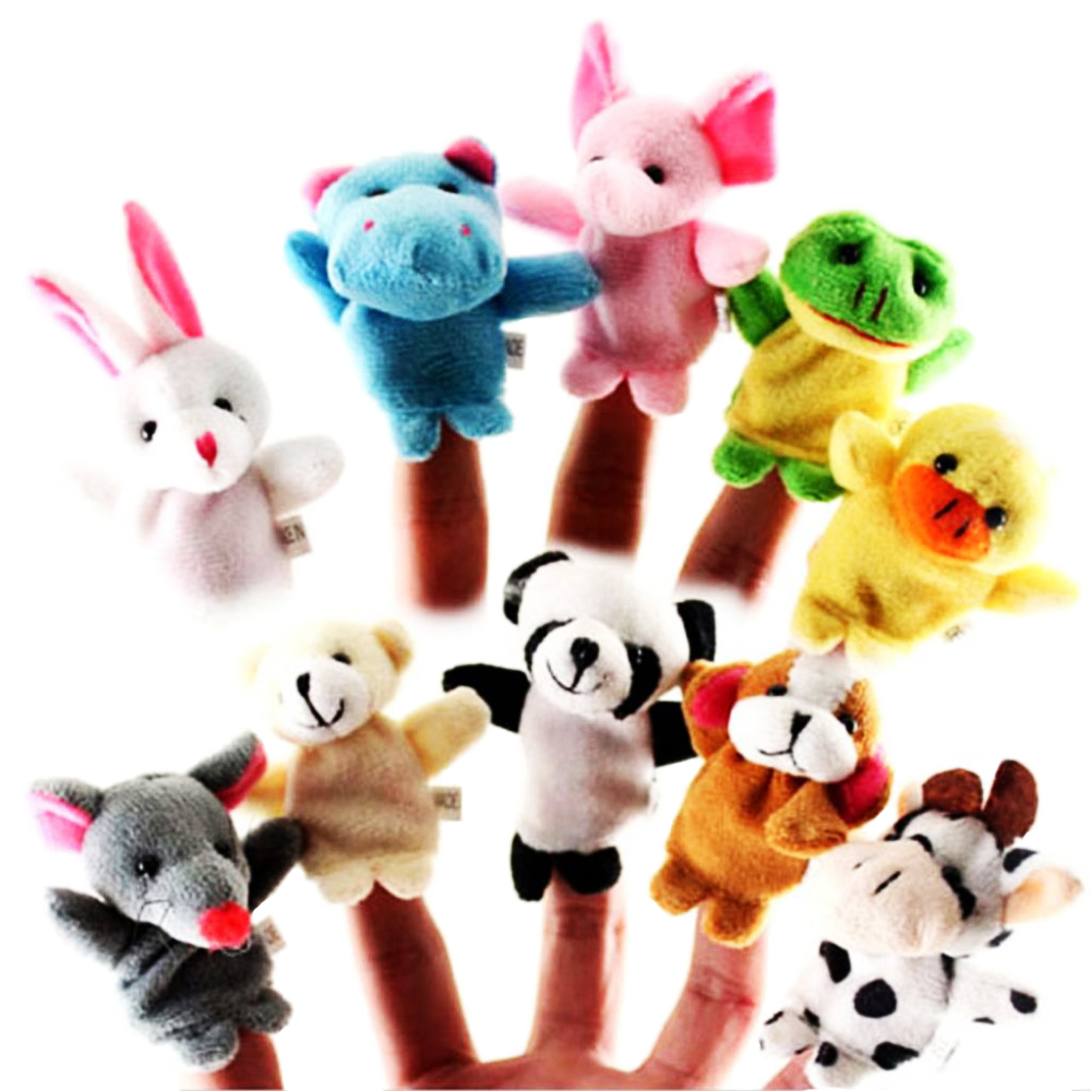 10pcs/lot baby toy The parent-child game props teaching props double cloth dolls Animal Finger Puppet to appease the toys