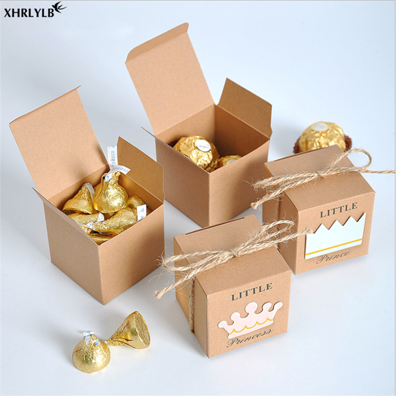 XHRLYLB 10pcLittle Prince Princess Candy Box Crown Kraft Paper Candy Box Wedding Decoration Birthday Party Box Baby Shower 7z in Gift Bags Wrapping Supplies from Home Garden