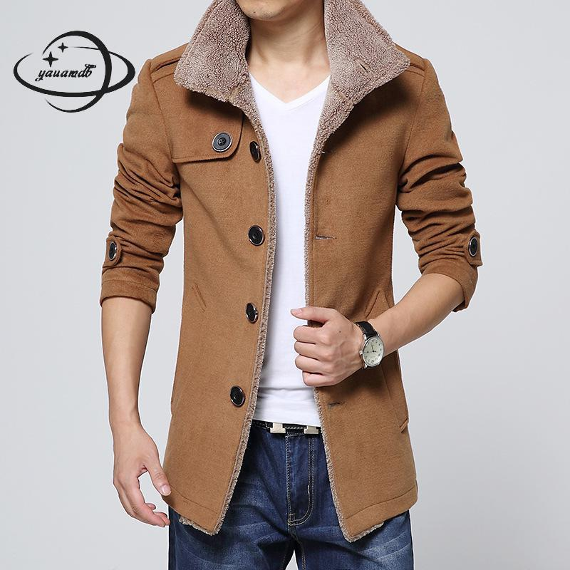 mens wool coats winter male Blends jackets clothing turtleneck regular solid color single breasted man outerwear clothes Y78