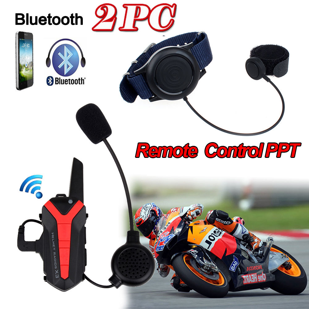 2 xmains libres Interphone Bluetooth groupe Interphone moto casque + télécommande