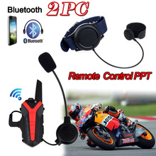 2xHandsfree Intercom Bluetooth Group Interphone Motorbike Helmet+Remote Control