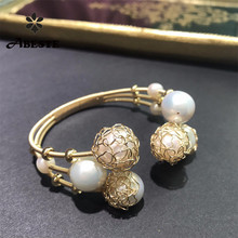 ANI 14K Roll Gold Handmade Women Bangle Freshwater White Pearl oorbellen boucle d oreille Fashion Design Fine Jewelry