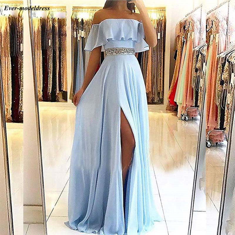 Sky Blue Chiffon Long   Prom     Dresses   Off The Shoulder Beaded Sash Occasion Party Gowns With Slit 2019 gala jurken