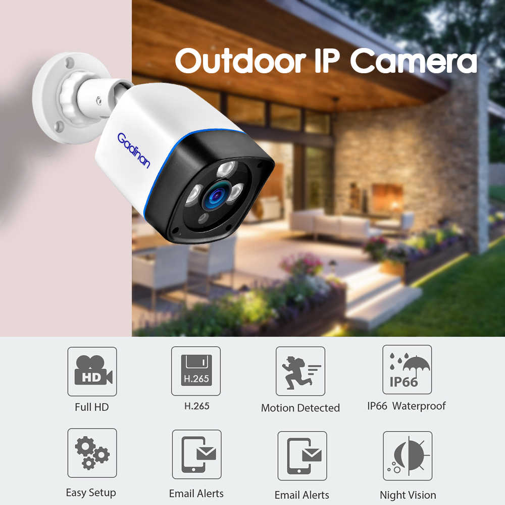 Gadinan 5MP 2592*1944 ONVIF IP Camera 3MP 2MP Outdoor H 265 Xmeye Cloud  Motion Detection Phone View Home Video Security POE