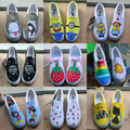 Personalized hand painted Canvas shoes  wrapping foot pedal platform canvas shoes  Flat shoes