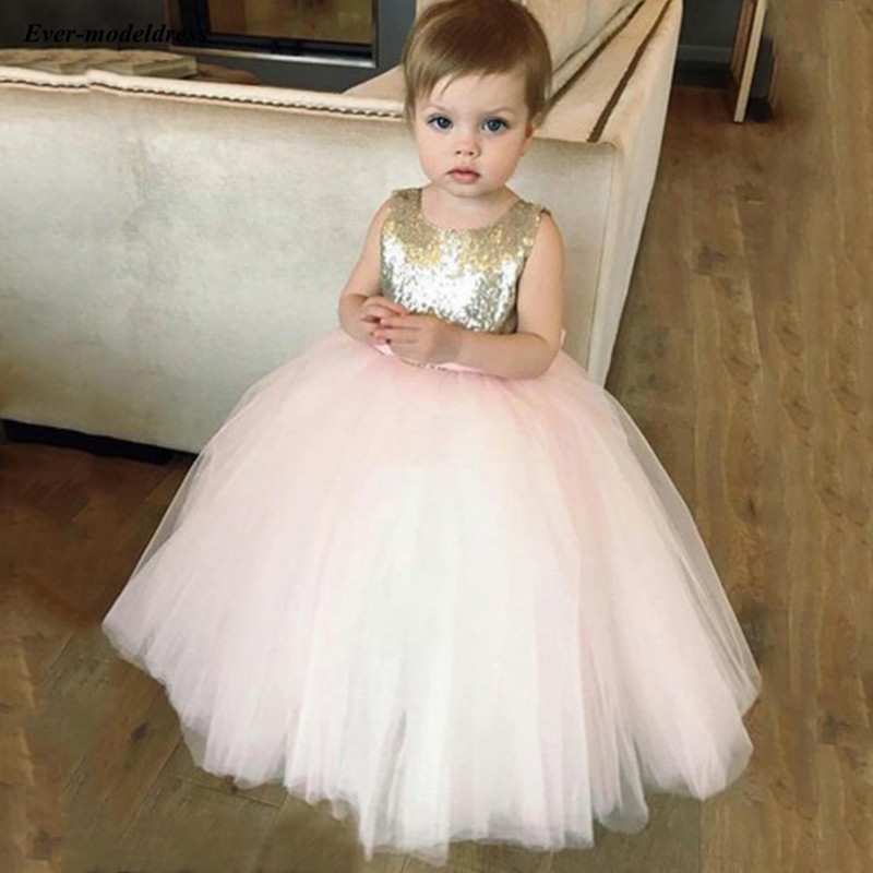 Shinny Sequins Tulle Ball Gowns   Flower     Girls     Dresses   With Bow Kids Birthday Party Gowns robe mariage fille