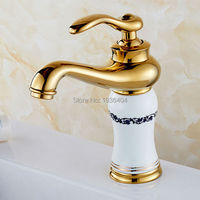 Royal Style Solid Brass Grilled White Painted Porcelain Basin Mixer Taps Deck Mounted Sink Faucet M1004